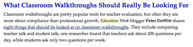 Classroom walkthroughs