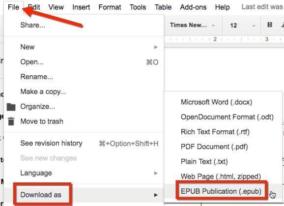 google doc save as ePub