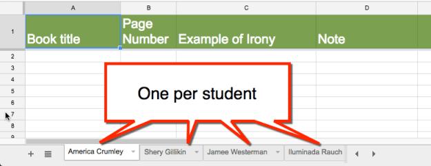 templatetab one per student