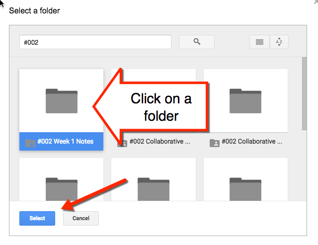 select a folder from drive picker