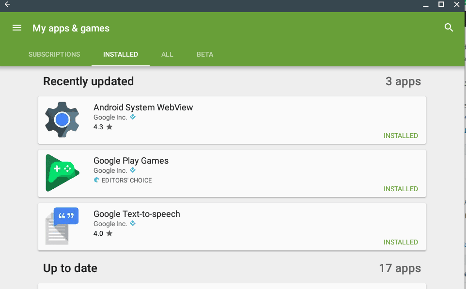 Installed apps in Google Play