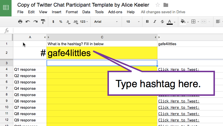 type the hashtag