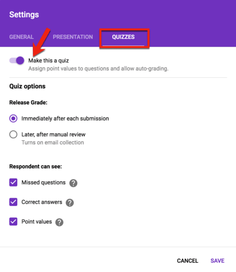 turn on quizzes in the settings of Google Forms