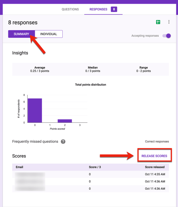 release scores in Google Forms