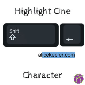 highlight or select the missing character highlight characters