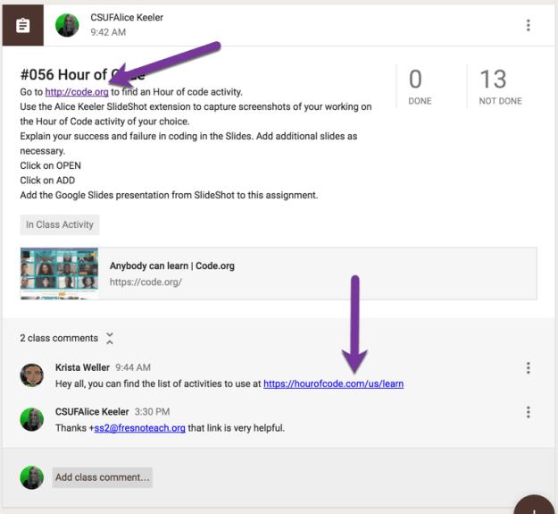 put live links into description or class comments of google classroom