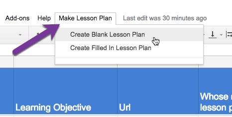 Use the Make Lesson Plan menu