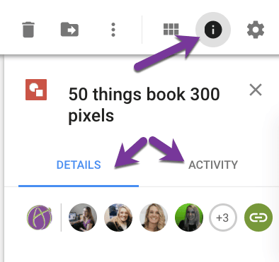 Details and activity tabs