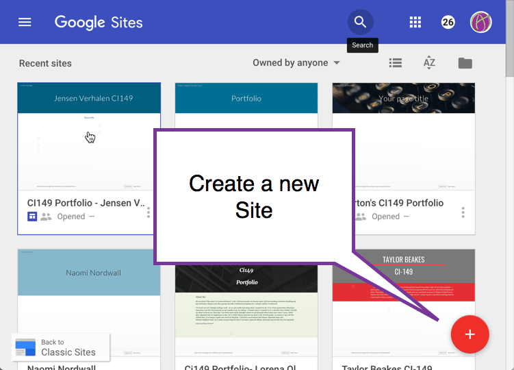 New google sites click red button to create a new site