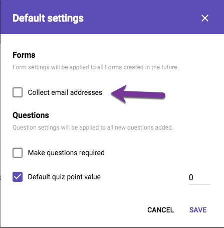 default to collect email addresses