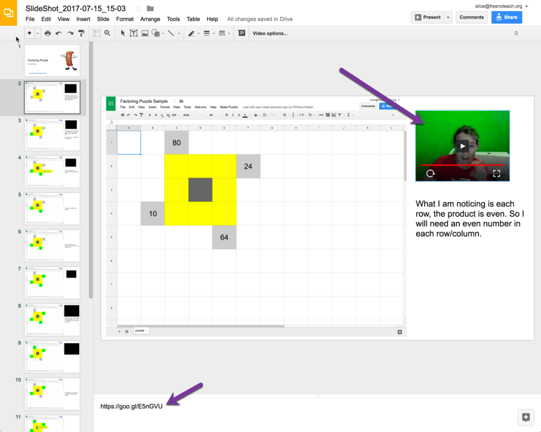 Video reflections embedded on the Google Slides