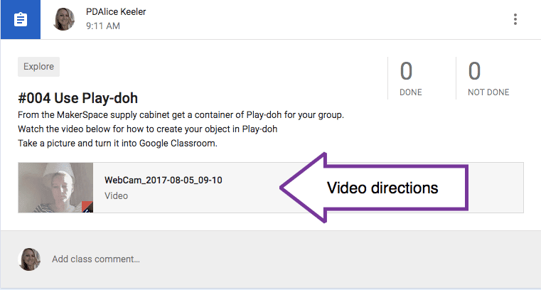 Add video directions to a Google Classroom assignment