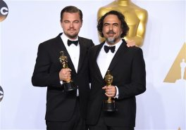 "Leonardo DiCaprio, winner of the award for best actor in a leading role for ""The Revenant"", left, and Alejandro G. Inarritu, winner of the award for best director for ""The Revenant"", pose in the press room with their awards at the Oscars on Sunday, Feb. 28, 2016, at the Dolby Theatre in Los Angeles. (Photo by Jordan Strauss/Invision/AP)"