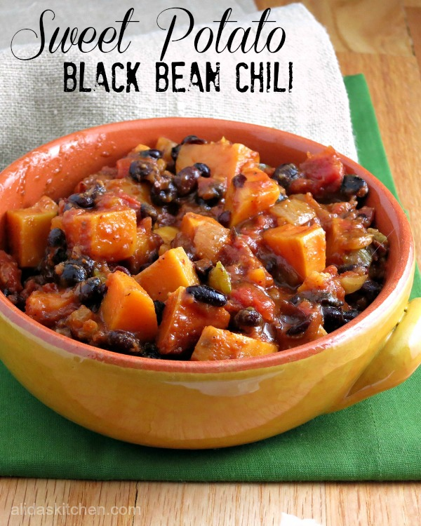 Sweet Potato Black Bean Chili #SundaySupper - Alida's Kitchen