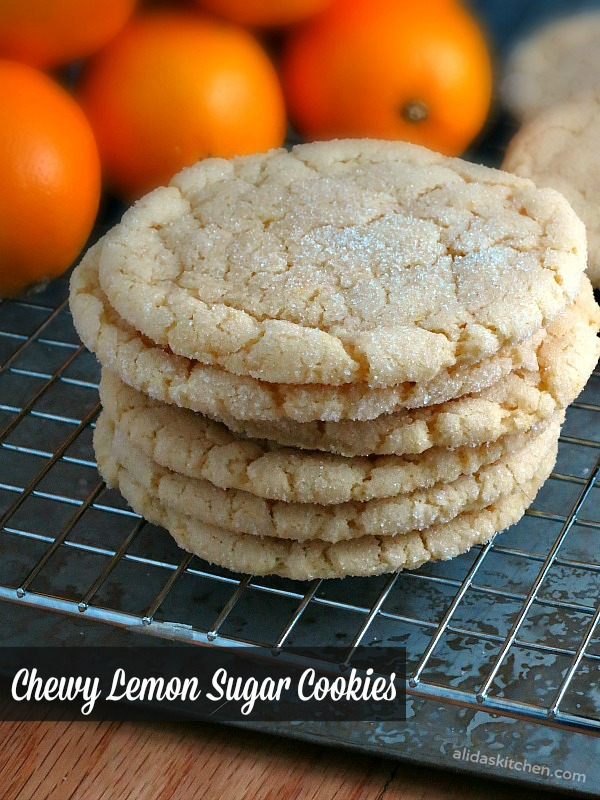 Chewy Lemon Sugar Cookies | alidaskitchen.com #recipes #cookies #SundaySupper