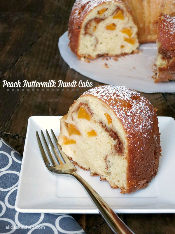 this peaches and cream inspired peach buttermilk bundt cake recipe