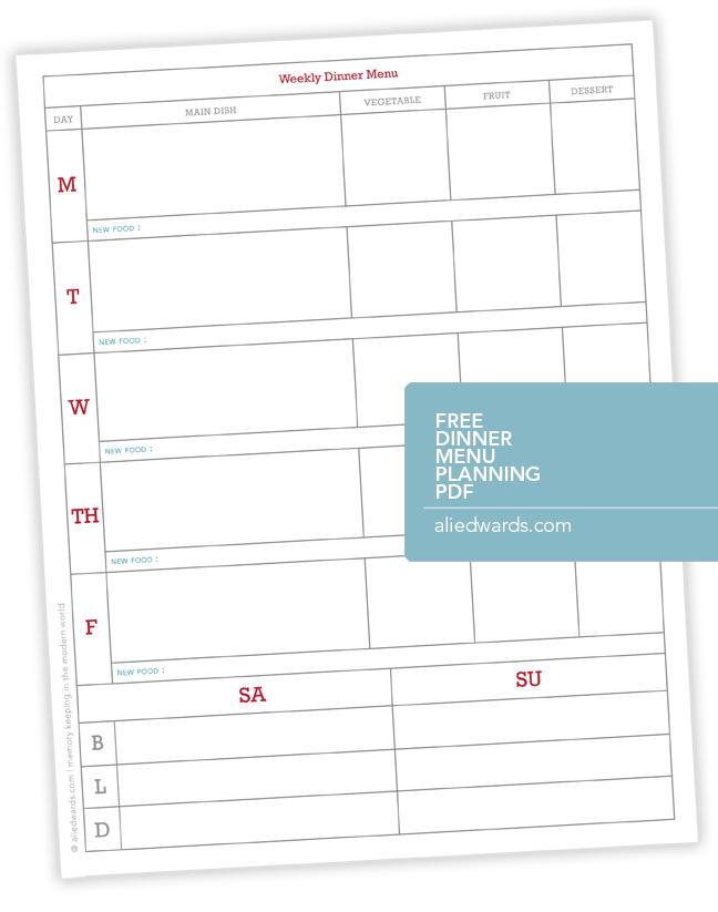 Ali Edwards Design Inc Blog Weekly Dinner Menu Planner PDF