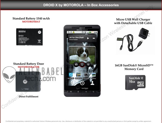 motoroladroidx thumb Motorola Droid X Verizon Launch Package, In Box accessories and Other Accessories Available at Verizon