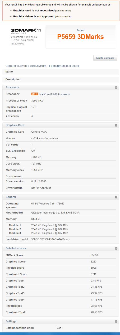 gtx560ti448 3dMark11 stock 1 Introducing the new EVGA GTX 560 Ti 448 Core FTW