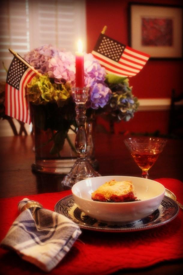 Fourth of July Dinner, blackberry peach cobbler