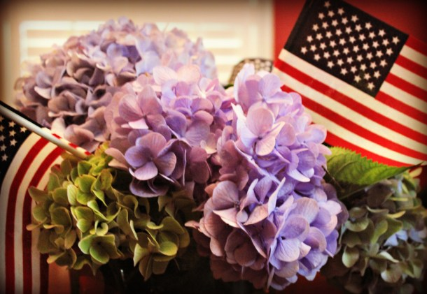 Hydrangeas and flags