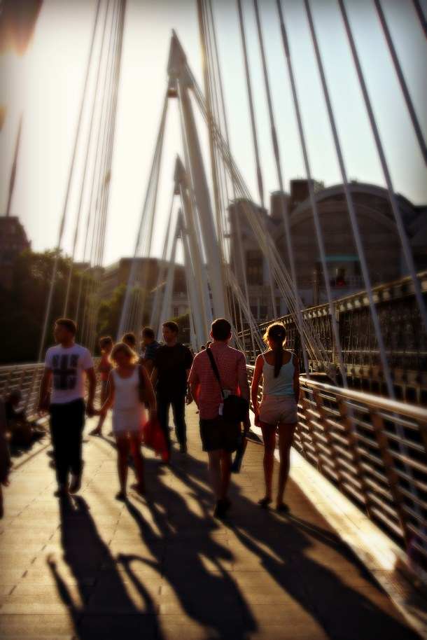 Walking across Millennium Bridge, London (Photo by Amy Watson Smith, July 2013)