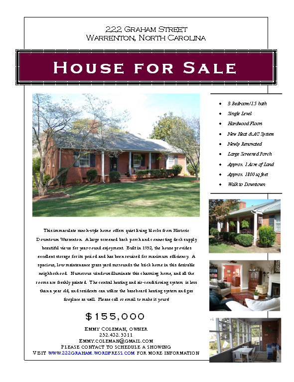 house sale flyer - Ozilalmanoof - home for sale brochure