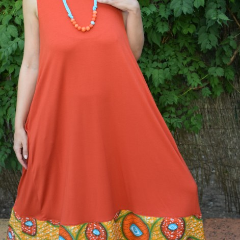 Vestido naranja collar 2