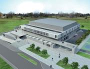Arena Valjevo - eksterijer odozgo, Arena Valjevo, projekat, izvođenje, projektovanje, dvorana, sportska hala, izošenje hale, valjevo, gradnja, izgradnja, građenje, građevinski radovi