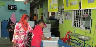 A child casts his vote as an election observer monitors the process