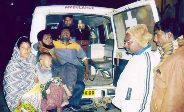 Golam Mostafa being taken by a private ambulance to a district hospital - Photograph: masum.org.in