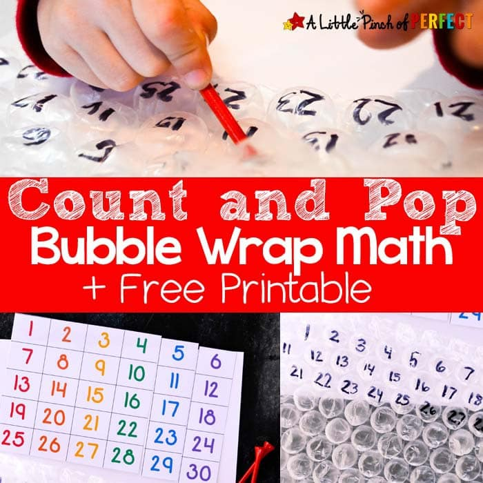 Count and Pop Bubble Wrap Math and Free Printable -