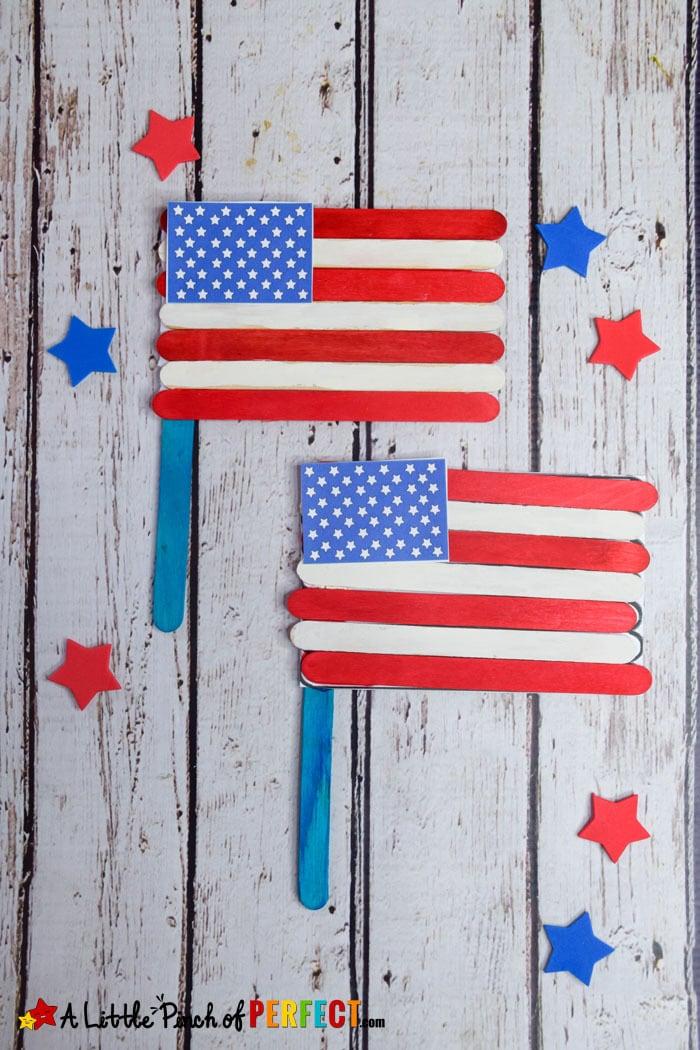 4th of July American Flag Popsicle Stick Craft and Template - - 4th of july template