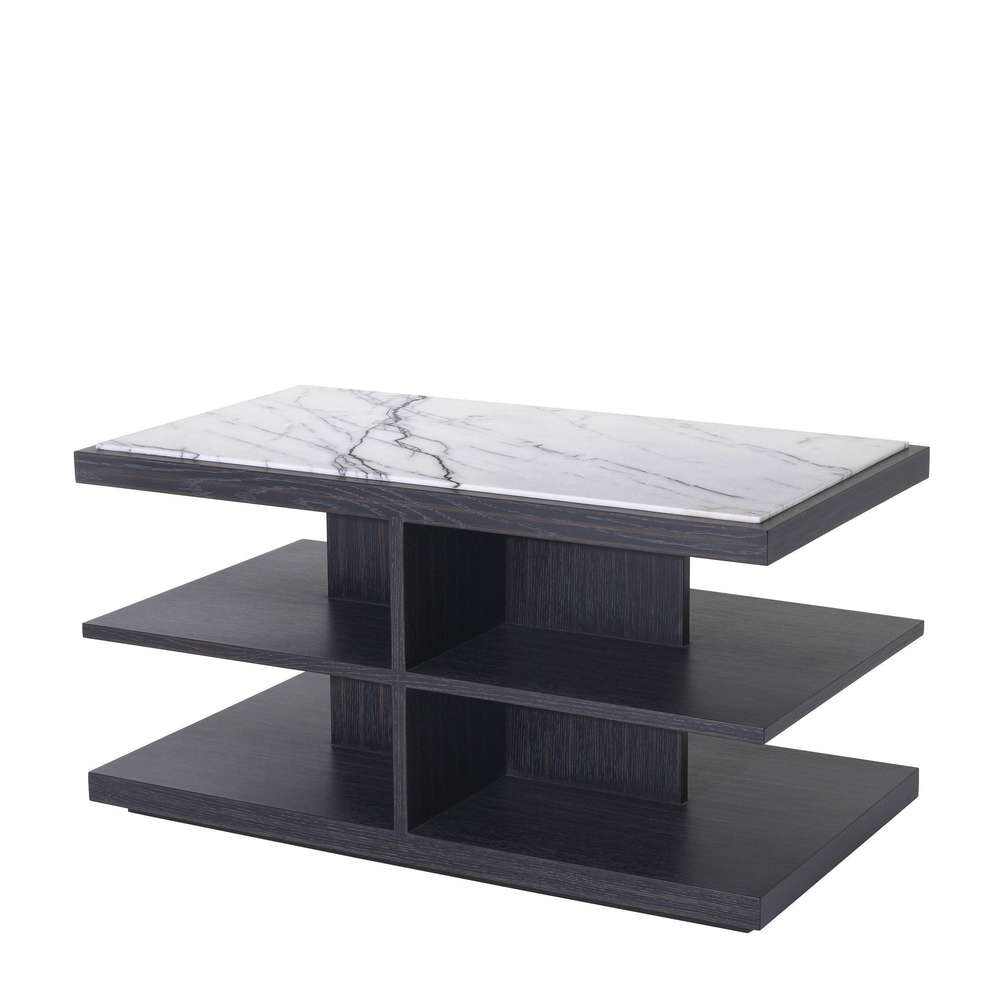 Eichholtz Side Table Miguel Charcoal Grey Oak Veneer Bianco Lilac Marble All You Really Need