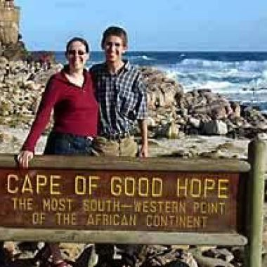 Malachy Harty and Niamh O Riordan at the Cape of Good Hope in South Africa