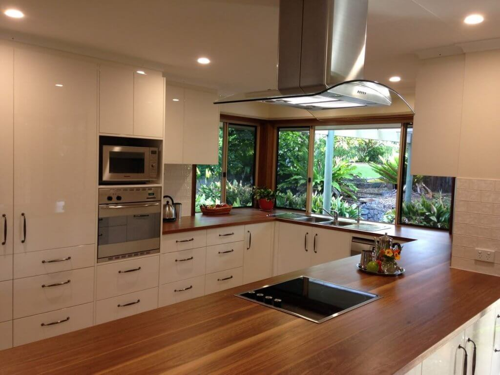 Wooden Benchtop Kitchen Amazing Custom Built Kitchen With Solid Timber Benchtop All