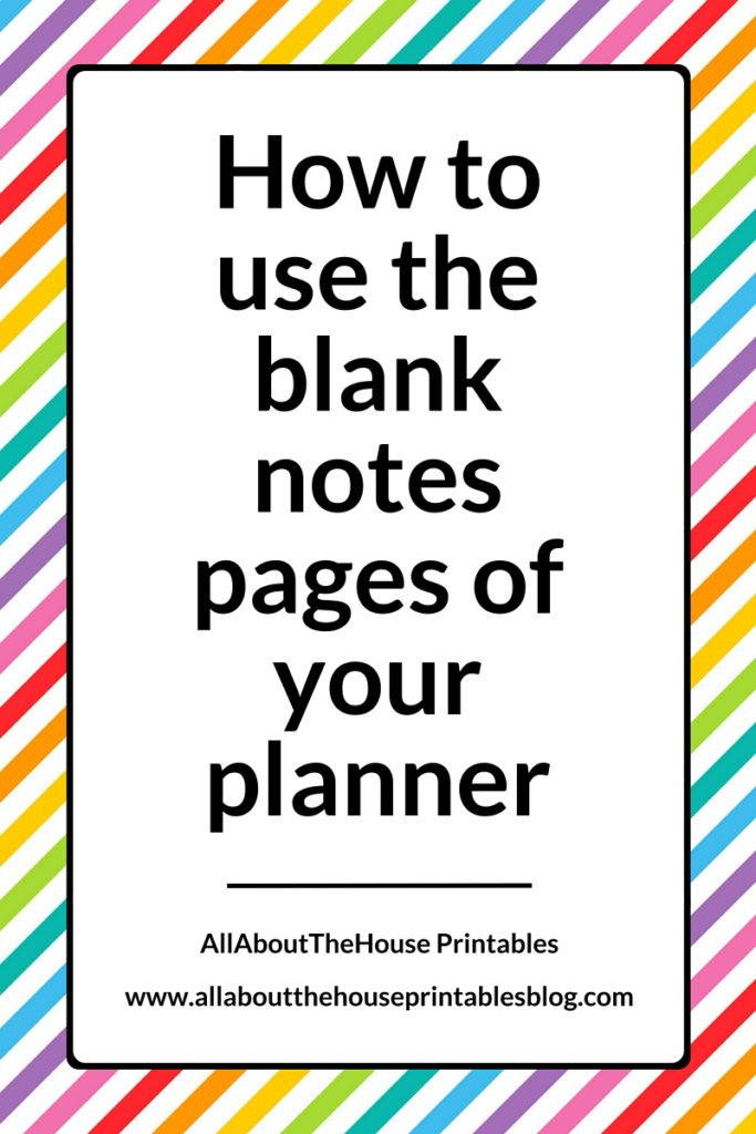 How to make use of blank pages in your planner - All About Planners