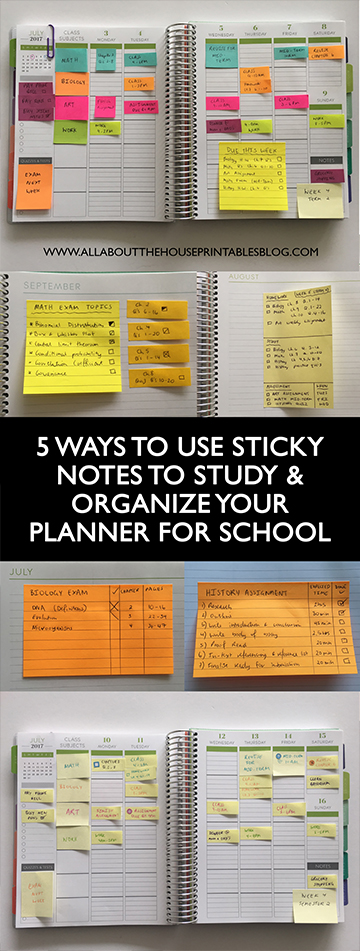 Planner organization 5 Ways to use sticky notes for school or