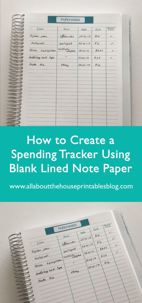 How to keep track of spending using stickers and blank notes pages