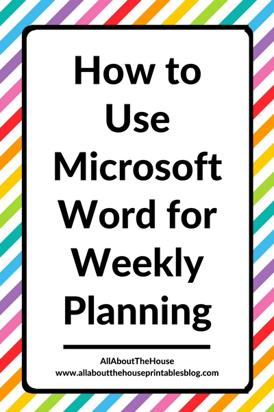 Using Microsoft Word to plan your week (52 planners in 52 weeks