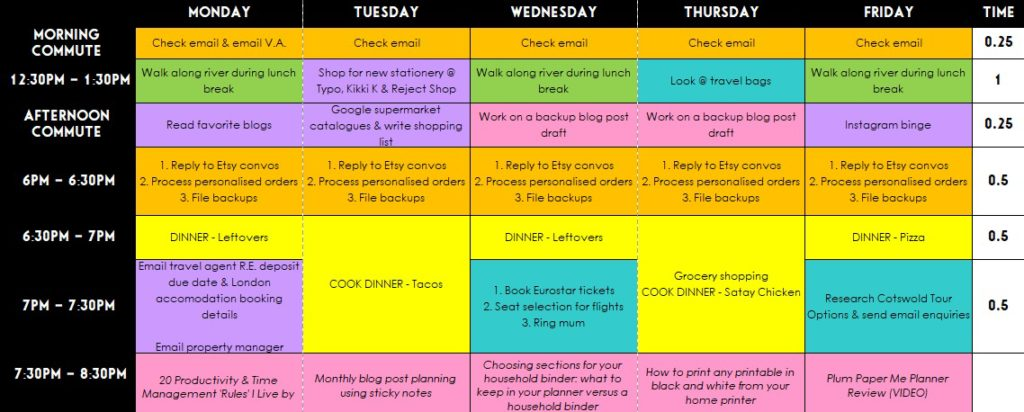 Weekly planning using Microsoft Excel (week 41 of the 52 Planners in