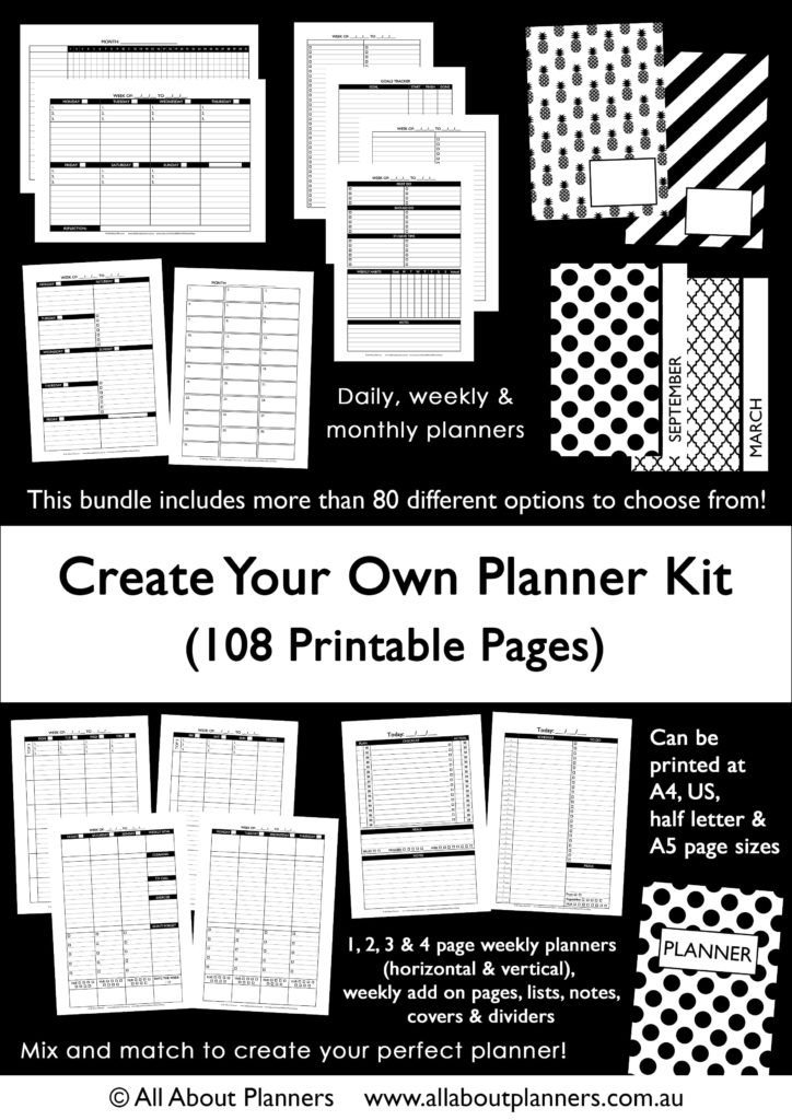 The \u0027Create your own planner kit\u0027 (108 printable pages to create
