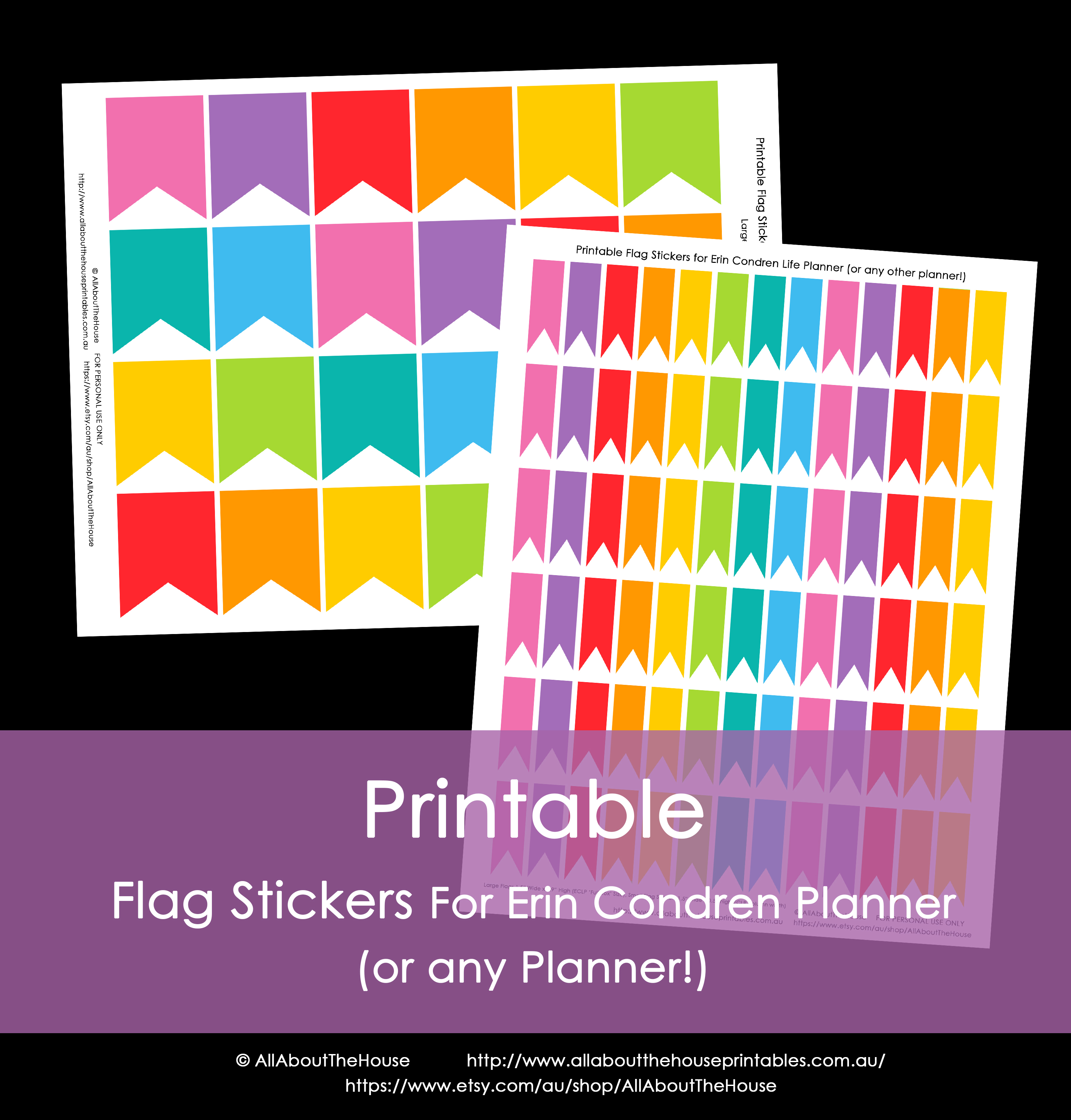 This is a picture of Dynamic Erin Condren Printable Stickers