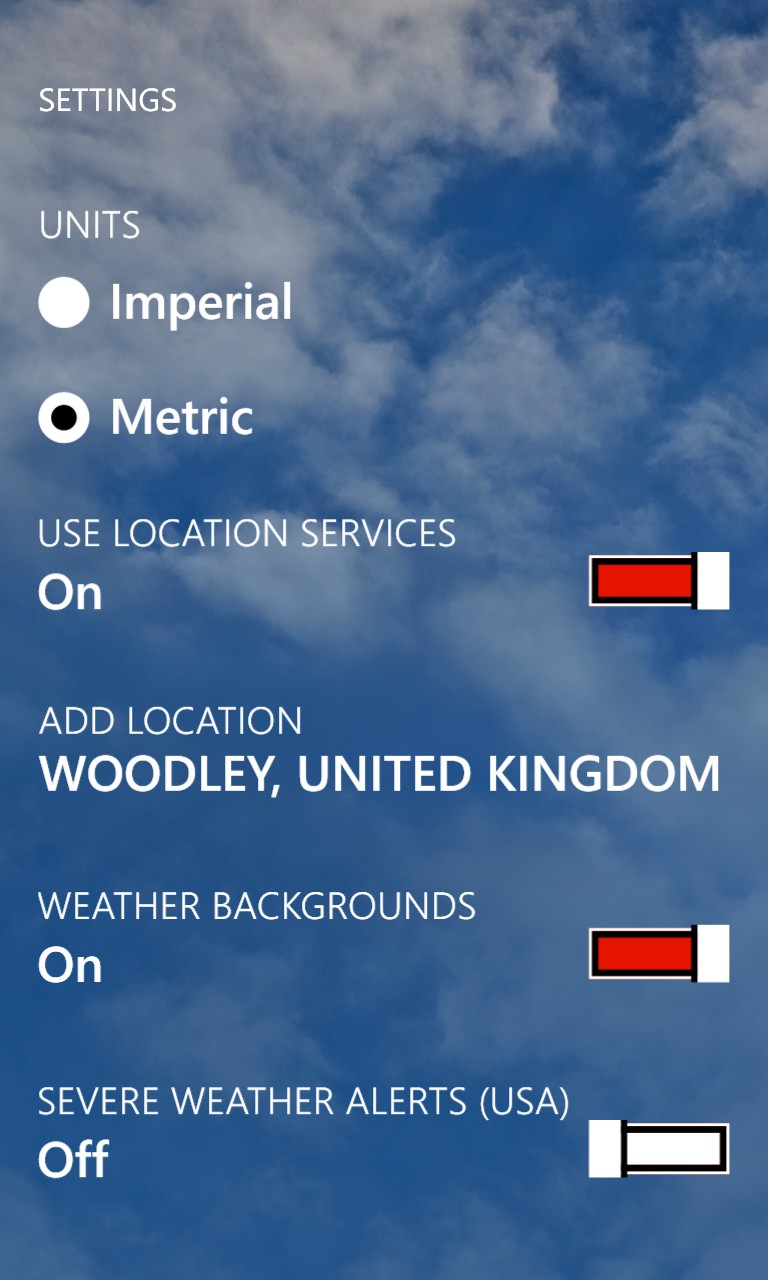 weather channel app preferences