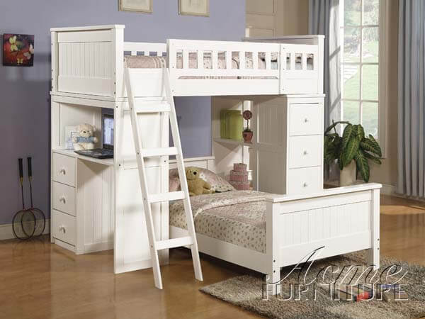 Willoughby White Loft Twin Bunk Bed All American