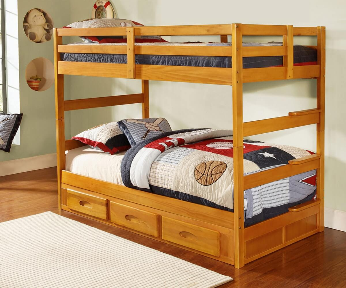 Honey Twin Bunk Bed All American Furniture Buy 4 Less
