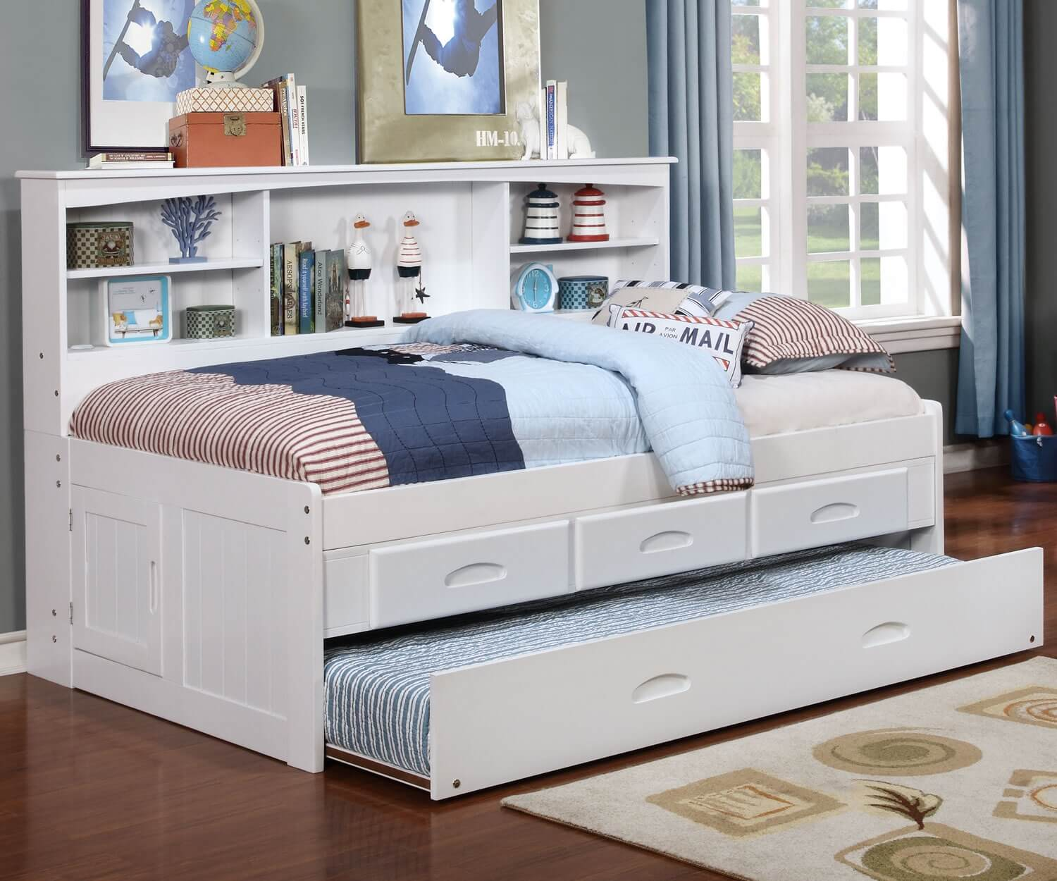 White Trundle Bed White Twin Bookcase Daybed All American Furniture Buy