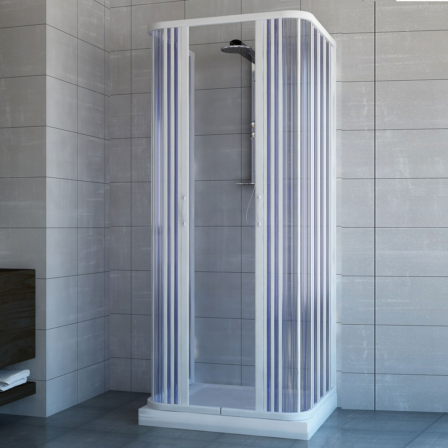 Outdoor Duschkabine Shower Enclosure 3 Sided Central Open Quadrant Cubicle