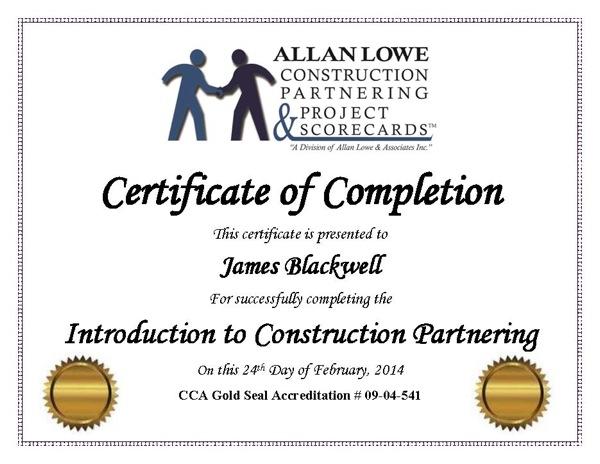 Construction Partnering Training Allan Lowe Construction Team - certificate of construction completion
