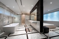 Open concept bathroom / Falling of the bathroom wall ...